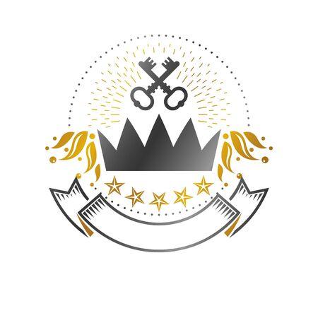 Majestic Crown emblem. Heraldic Coat of Arms