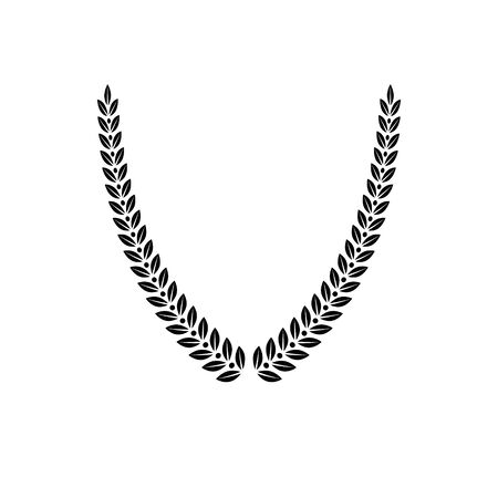 Laurel Wreath floral emblem created in V shape. Heraldic Coat of Arms