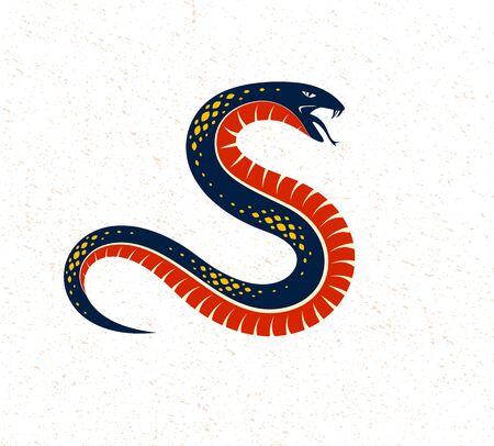 Snake vector emblem or tattoo, deadly poison dangerous serpent, venom aggressive predator reptile animal vintage style illustration.