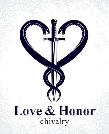 Dagger and two snakes in a shape of heart vector vintage style emblem, chivalry love and honor concept, medieval Victorian style. Stock Illustratie