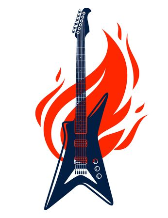 Electric guitar on fire, hot rock music guitar in flames, Hard Rock or Rock and Roll concert or festival label, night club live show, vector or emblem. Illustration