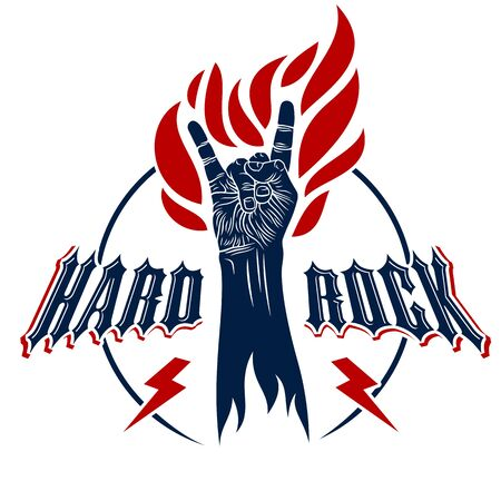 Rock hand sign on fire, hot music Rock and Roll gesture in flames, Hard Rock festival concert or club, vector label emblem, musical instruments shop or recording studio.