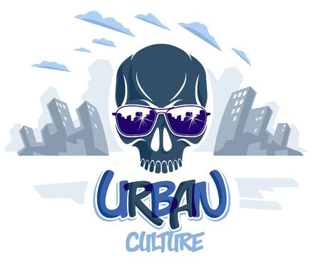 Urban culture style skull in sunglasses vector or emblem, gangster or thug illustration, anarchy chaos hooligan, ghetto theme.