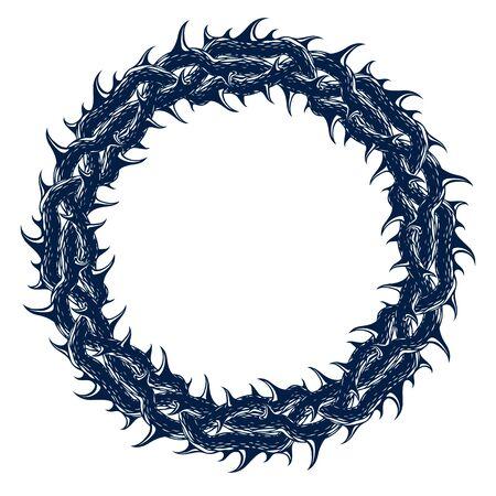 Round frame from thorn, blackthorn vector design element, circle shape border.