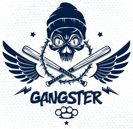 Criminal tattoo ,gang emblem with aggressive skull baseball bats and other weapons and design elements, vector, bandit ghetto vintage style, gangster anarchy or mafia theme.