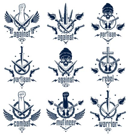 Revolution and Riot aggressive emblem with strong clenched fist, aggressive skull, bullets and guns, weapons and different design elements , vector tattoo, rebel and revolutionary.
