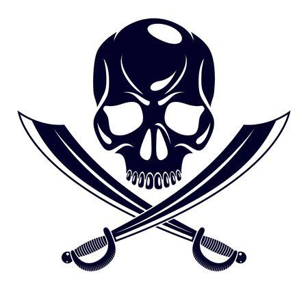 Jolly Roger dead head aggressive skull