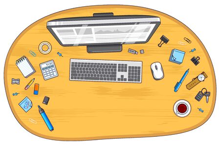 Wooden office employee or entrepreneur work desk workplace with PC computer and diverse stationery objects for work with copy space for text.