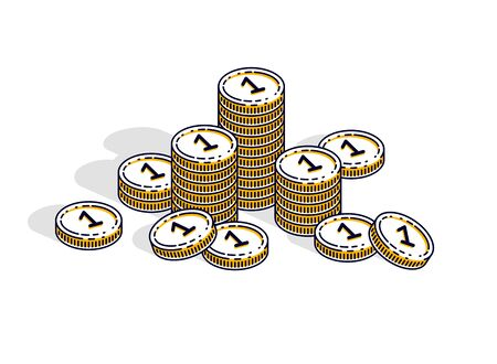 Cash money coin stacks isolated on white background. Vector 3d isometric business and finance illustration, thin line design.