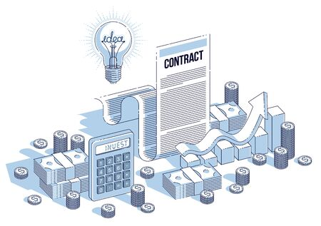 Financial contract concept, paper document and cash money stacks with calculator and light bulb idea isolated. Isometric vector business and finance illustration, 3d thin line design.  イラスト・ベクター素材