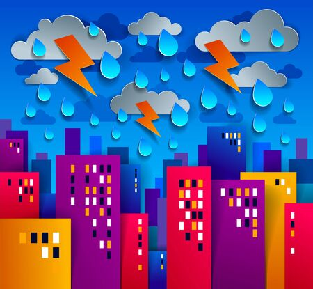 City houses buildings under thunderstorm and lightning paper cut cartoon kids game style vector illustration, modern minimal design of cute cityscape, urban life, clouds and rain in sky.