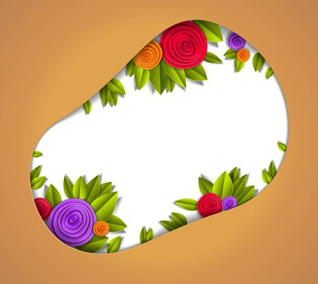 Background with flowers and leaves paper cut style, copy space for text, vector floral illustration. Wedding invitation or romantic greeting card. Çizim