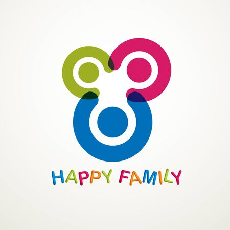 Happy family vector logo or icon created with simple geometric shapes. Tender and protective relationship of father, mother and child. Together as one system relations. Banco de Imagens - 129633471