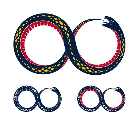 Snake eating its own tale, Uroboros Snake in a shape of infinity symbol, endless cycle of life and death, Ouroboros ancient symbol vector illustration, emblem or tattoo. Ilustração