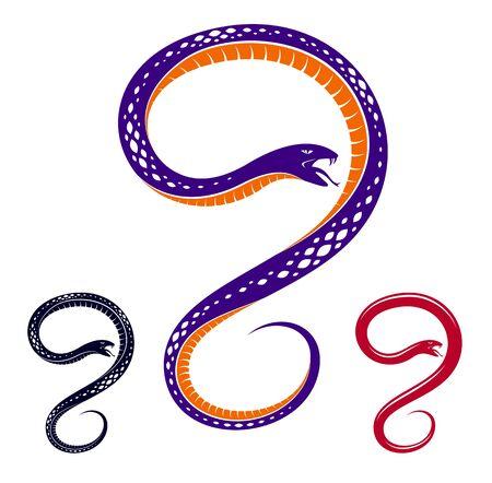Venomous snake vintage tattoo, vector drawing of aggressive predator reptile, deadly poisoned serpent symbol, vintage style illustration. Standard-Bild - 130542348