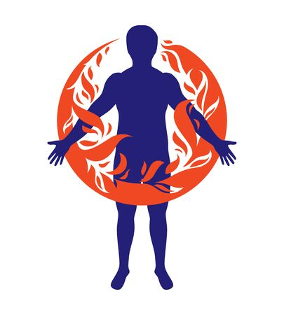 Vector illustration of athletic man, human and nature harmony, fire man covered with a fireball. Иллюстрация