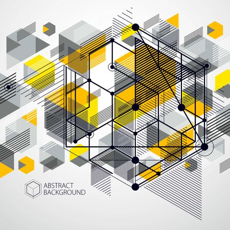 Vector industrial and engineering yellow background, future technical plan. Modern geometric composition can be used as template and layout.