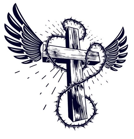 Christian cross with blackthorn thorn vector religion or tattoo, passion of the Christ. Çizim