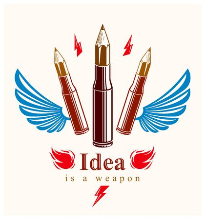 Idea is a weapon concept, weapon of a designer or artist allegory shown as a winged firearm cartridge cases with pencils instead of bullet, creative power, vector or icon.