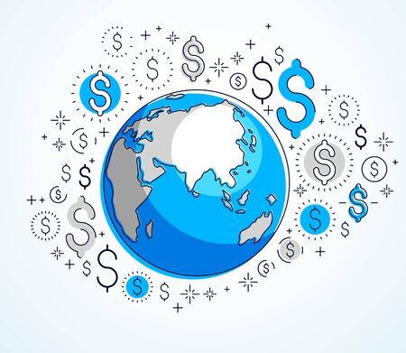 Concept d'entreprise mondial, planète terre avec jeu d'icônes en dollars, économie internationale, change de devises, connexion au réseau mondial Internet, vecteur, les éléments peuvent être utilisés séparément.