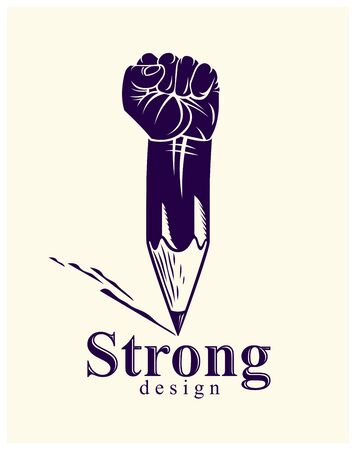 Strong design or art power concept shown as a pencil with clenched fist combined into symbol, vector or creative conceptual icon for designer or studio, science research.