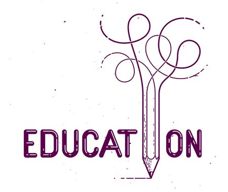 Education word with pencil instead of letter I, study and learning concept, vector conceptual creative or poster made with special font.