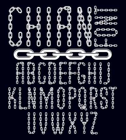 Vector font, trendy typescript can be used in poster creation. Capital decorative letters created using chrome chain, linkage. Ilustração