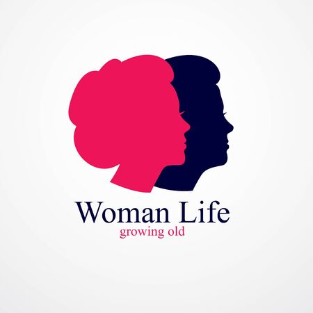 Woman getting old age years conceptual illustration, from woman to grandma, aging period and cycle of life. Vector simple classic concept icon or design.