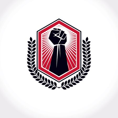 Vector illustration created with clenched fist of a strong man and laurel wreath. Boxing club abstract emblem.