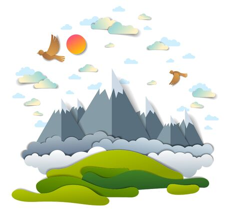 High mountain peaks range scenic landscape of summer with clouds birds and sun in the sky, paper cut style childish illustration, holidays, travel and tourism theme.
