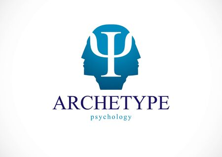 Psychology and mental health concept, created with double man head profile as an archetype and shadow, psychoanalysis, individuality and psychical problems. Vector or icon design.