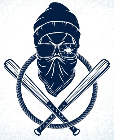 Gangster emblem or tattoo with aggressive skull baseball bats design elements, vector, criminal ghetto vintage style, gangster anarchy or mafia theme.