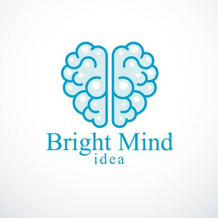 Bright Mind vector or icon with human anatomical brain. Thinking and brainstorming concept. Illustration