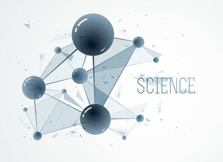Vector molecules scientific chemistry and physics theme vector abstract background, micro and nano science and technology theme, atoms and microscopic particles.
