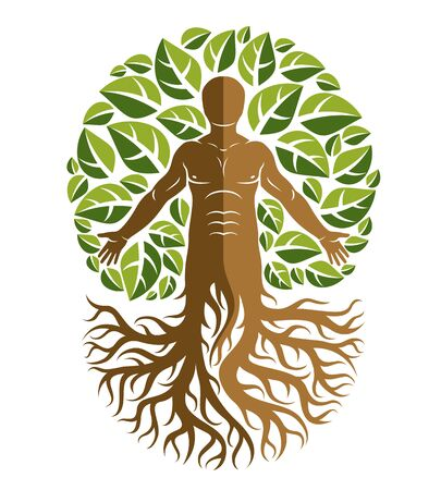 Vector human, individuality created with tree roots and surrounded by eco green leaves. Family tree, tree of life conceptual graphic illustration.