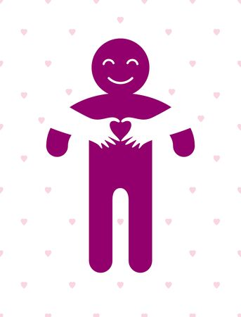 Love arms hugging lover and shows heart shape gesture hands, lover woman hugging his man and shares love, vector icon or illustration in simplistic symbolic style.