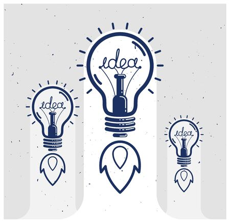 Three idea light bulbs launching like a rockets vector linear or poster, creative idea startup, science invention or research lightbulb, new business start.
