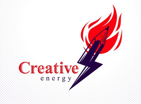Creative energy power concept shown by pencil in a shape of lightning bolt with fire flame, vector or icon, the power of idea, design and art, science invention or research. Illusztráció