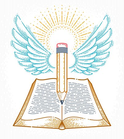 Vintage book and winged pencil education or science knowledge concept, educational or scientific literature library vector or emblem. Иллюстрация