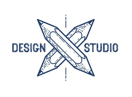 Two crossed pencils vector simple trendy or icon for designer or studio, creative competition, designers team, linear style.
