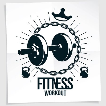 Bodybuilding vector motivation poster created with disc weight dumbbell surrounded by iron chain. Train hard lettering.