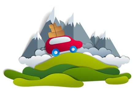 Car travel and tourism, red minivan with luggage riding off road with mountain peaks in background, paper cut vector illustration of auto in scenic nature landscape.