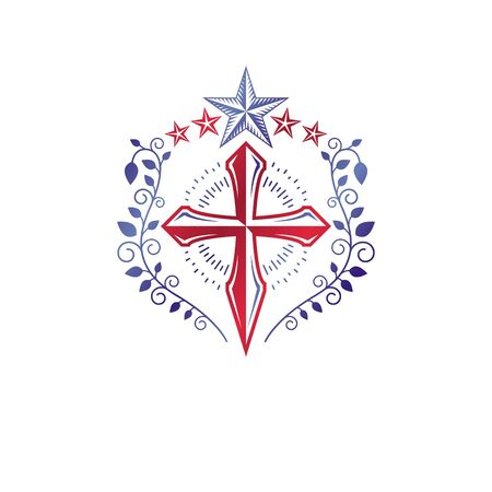 Cross Religious vintage emblem created using pentagonal star and floral ornament, Christian crucifixion. Heraldic Coat of Arms, Glory of God vector.