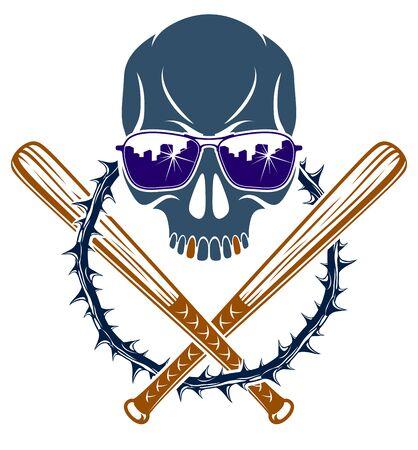 Gang brutal criminal emblem with aggressive skull baseball bats design elements, vector anarchy crime terror retro style, ghetto revolutionary.