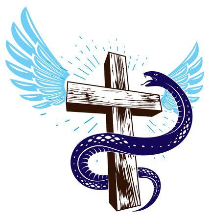 Serpent on a Cross vintage tattoo, snake wraps around Christian cross, God and Devil allegory, the struggle between good and evil, symbolic vector illustration or emblem. Çizim