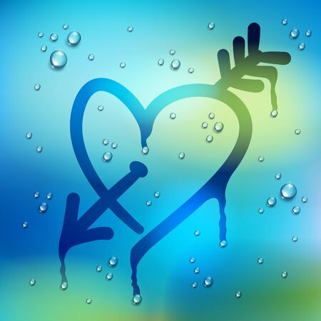 Heart and arrow drawn on a window over blurred background and water rain drops, vector realistic illustration, fall in love and missing beautiful art. Фото со стока - 130545632
