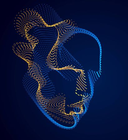 Dotted particles human portrait, abstract human head vector wave shapes array, Artificial Intelligence, pc programming software interface, digital soul.