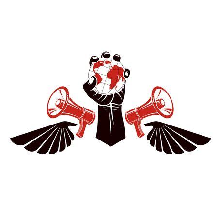 Emblème de vecteur décoratif composé de poing serré levé musclé tenant le globe, les ailes de la liberté et les mégaphones. Politique et autorité en tant que composantes de la propagande.