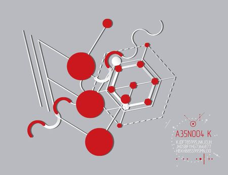 Engineering technology vector wallpaper made with circles and lines. Technical drawing abstract background. Art graphic illustration. Çizim