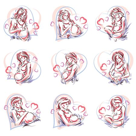 Pregnant woman elegant body silhouettes collection, sketchy vector illustration. Love and gentle feeling concept. Mother Day. Illustration